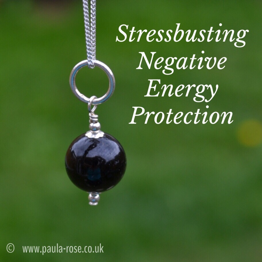 Negative energy protection black tourmaline round sterling Negative energy